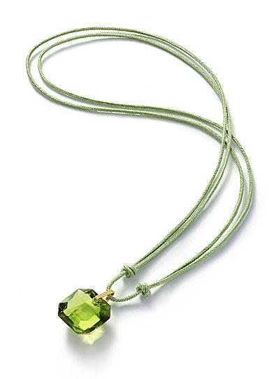 Baccarat Crystal Par Marie Helene De Taillac Green Pendant, Gold Necklace