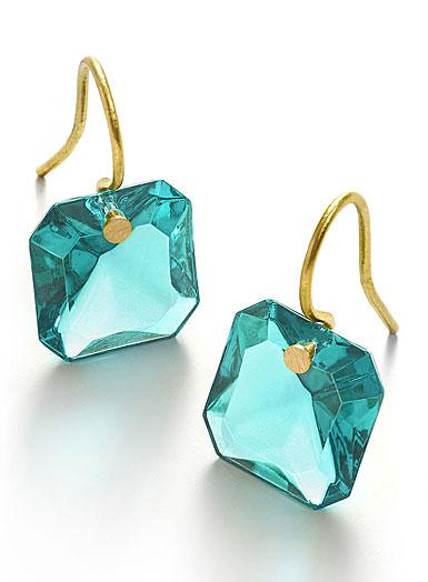 Baccarat Crystal Par Marie Helene De Taillac Turquoise Earrings, Pair