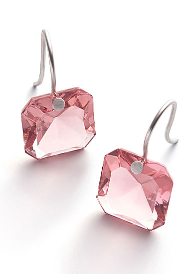 Baccarat Crystal Par Marie Helene De Taillac Light Pink Earrings, Pair