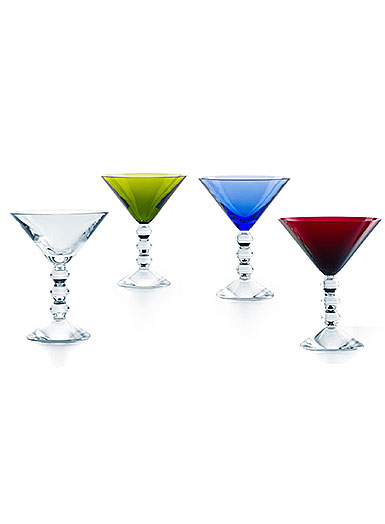 Baccarat Crystal, Vega Martini Glasses Color Set of 4