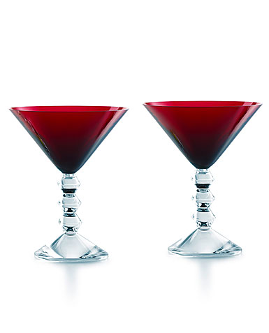 Baccarat Crystal, Vega Crystal Martini Red Crystal Glasses, Pair