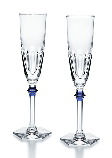 Baccarat Crystal, Harcourt Eve 1841 Champagne Crystal Flutes with Blue Knob, Pair
