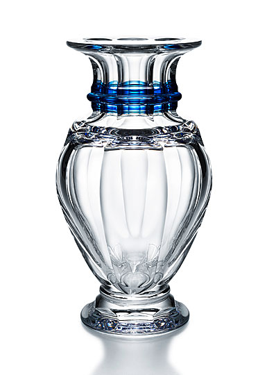 Baccarat Harcourt Balustre Tall Blue Stripe Vase