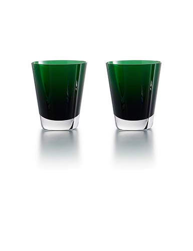 Baccarat Crystal, Mosaique Green Tumbler, Pair