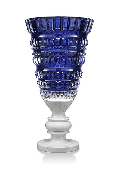 Baccarat Crystal, New Antique Blue Crystal Vase, Limited Edition