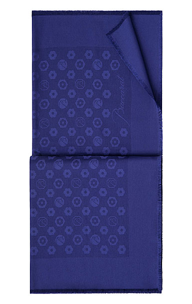 """Baccarat Scarf Wool And Silk Carre 55"""" X 55"""" Harcourt Shawl, Blue"""