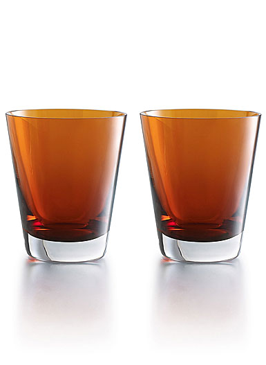 Baccarat Crystal, Mosaique Tumbler Orange, Boxed, Pair