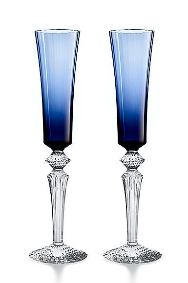 Baccarat Crystal, Mille Nuits Flutissimo Blue, Boxed, Pair