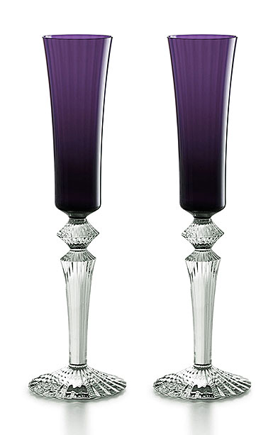 Baccarat Crystal, Mille Nuits Flutissimo Purple, Boxed, Pair