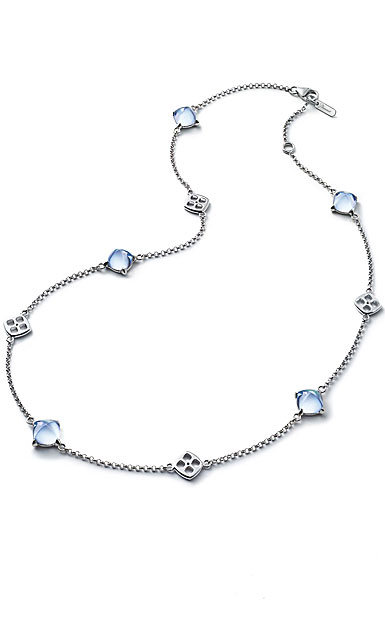 Baccarat Crystal Medicis Mini Necklace Sterling Silver Aqua