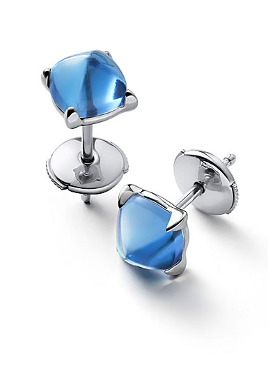 Baccarat Crystal Medicis Mini Stud Earrings Sterling Silver Blue Riviera