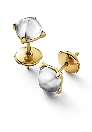 Baccarat Crystal Medicis Mini Stud Earrings Vermeil Gold Clear