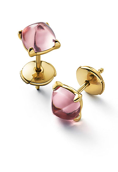 Baccarat Crystal Medicis Mini Stud Earrings Vermeil Gold Pink