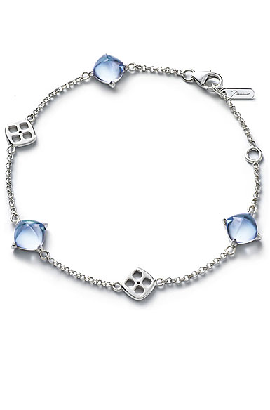 Baccarat Crystal Medicis Mini Chain Bracelet Sterling Silver Aqua