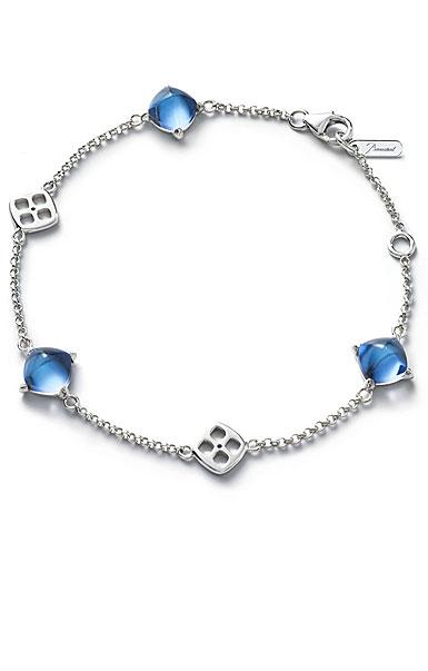 Baccarat Crystal Medicis Mini Chain Bracelet Sterling Silver Blue Riviera
