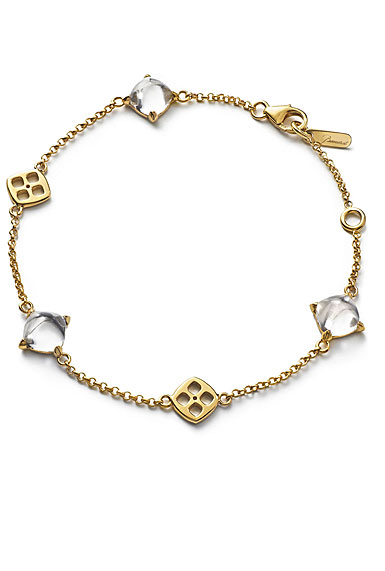 Baccarat Crystal Medicis Mini Chain Bracelet Vermeil Gold Clear