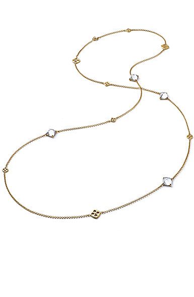 Baccarat Crystal Medicis Mini Long Necklace Vermeil Gold Clear