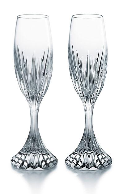 Baccarat Crystal, Massena Champagne Flutes, Pair