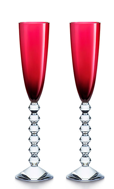 Baccarat Crystal, Vega Flutissimo Red, Pair