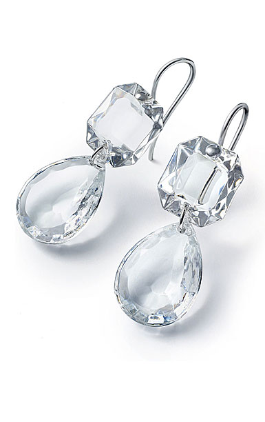 Baccarat Crystal Marie-Helene De Taillac Earrings Large Wire Sterling Silver Clear