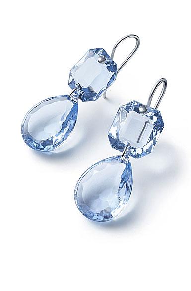 Baccarat Crystal Marie-Helene De Taillac Earrings Large Wire Sterling Silver Light Blue