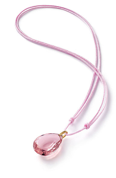 Baccarat Crystal Marie-Helene De Taillac Pendant Necklace Vermeil Gold Light Pink