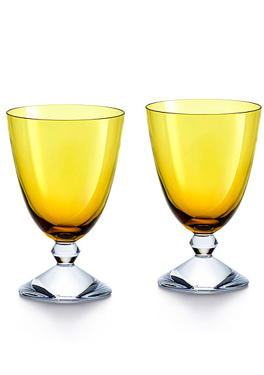 Baccarat Crystal Vega Amber Water Glass Pair