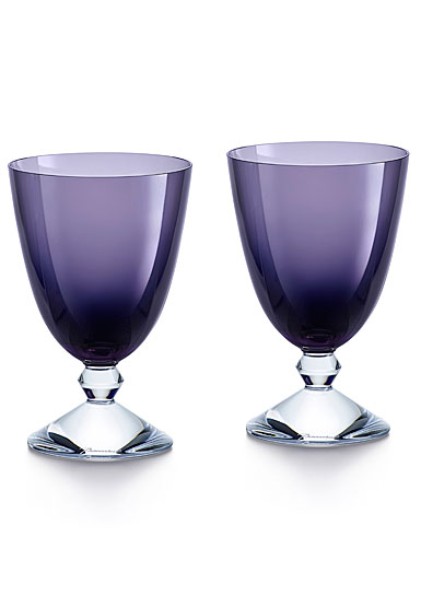 Baccarat Crystal Vega Purple Water Glass Pair
