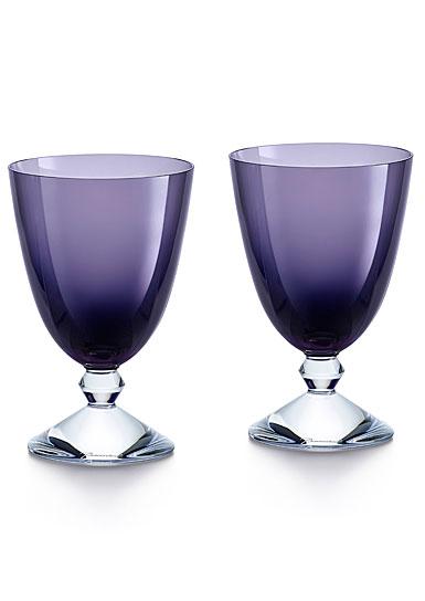 Baccarat Crystal Vega Purple Water Glass Pair
