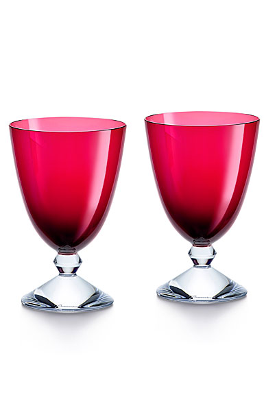 Baccarat Crystal Vega Red Water Glass Pair
