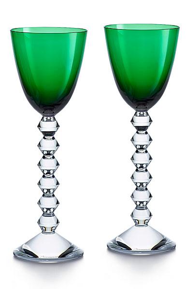 Baccarat Crystal Vega Rhine Wine Green Glass Pair