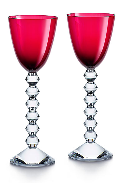 Baccarat Crystal Vega Rhine Wine Red Glass Pair