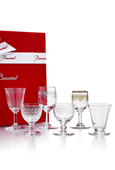 Baccarat Crystal Coffret Verres Bijoux Gift Boxed Set of Six Glasses