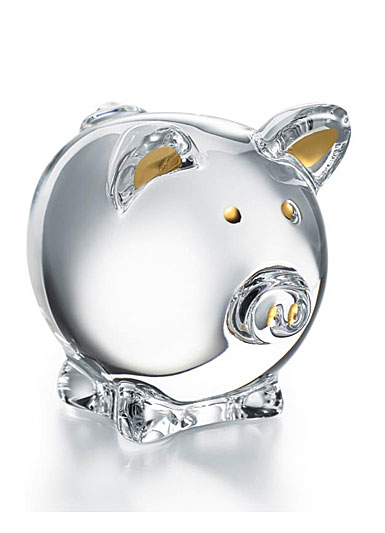Baccarat Crystal Zodiac Pig 2019, Clear and Gold