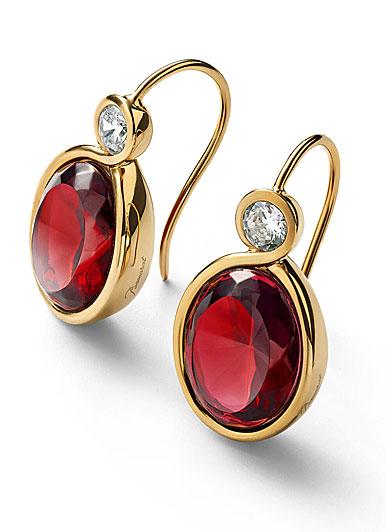 Baccarat Croise Earrings Vermeil Gold Pair, Red