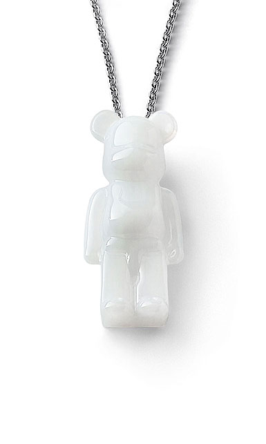 Baccarat BearBrick Long Necklace, Silver, White Crystal