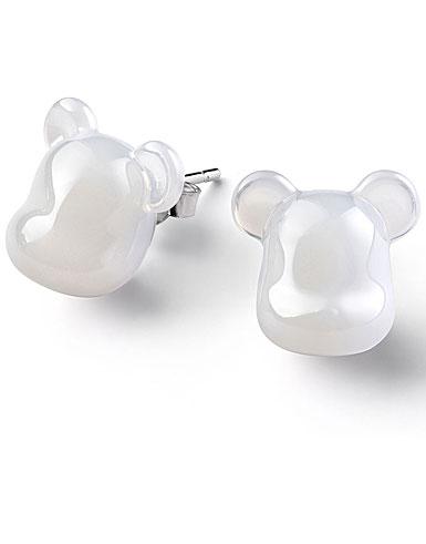 Baccarat BearBrick White Stud Earrings, Pair