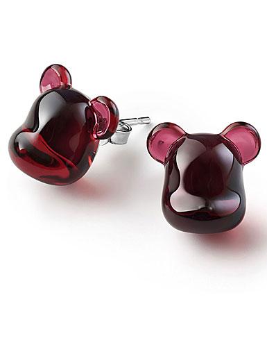 Baccarat BearBrick Silver, Red Crystal Stud Earrings, Pair