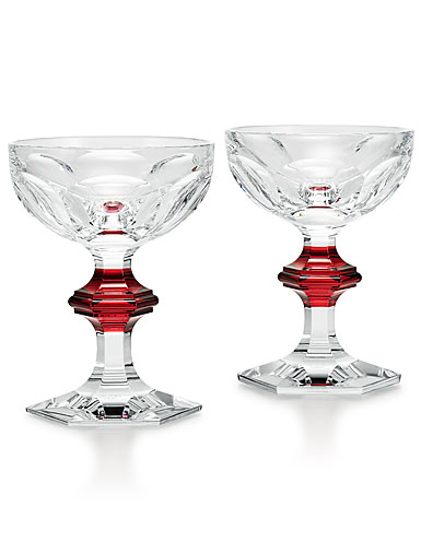 Baccarat Harcourt Champagne, Cocktail Coupe Red Knob Glasses, Pair