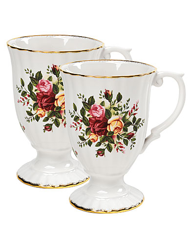 Royal Albert China Old Country Roses Fluted Mugs, Pair
