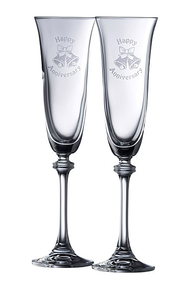 Galway Crystal Happy Anniversary Liberty Flute, Pair