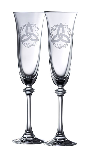 Galway Crystal Trinity Knot Shamrock Liberty Flute, Pair