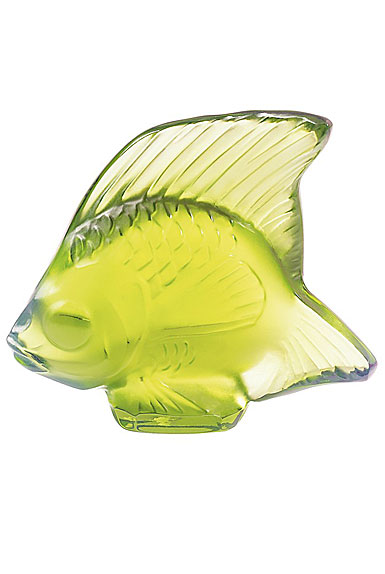 Lalique Crystal, Anise Green Fish Sculpture
