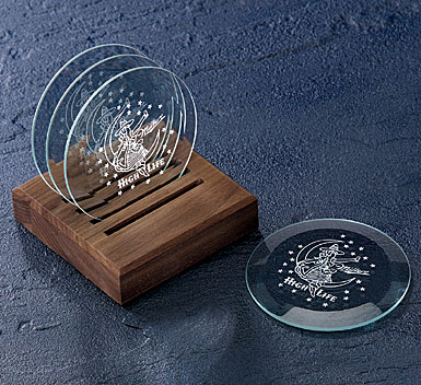 Crystal Blanc, Personalize! Coaster Set 4 Coasters With Walnut Caddy