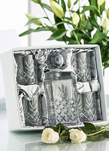Galway Crystal Renmore Decanter Set, Decanter and 4 DOF Glasses