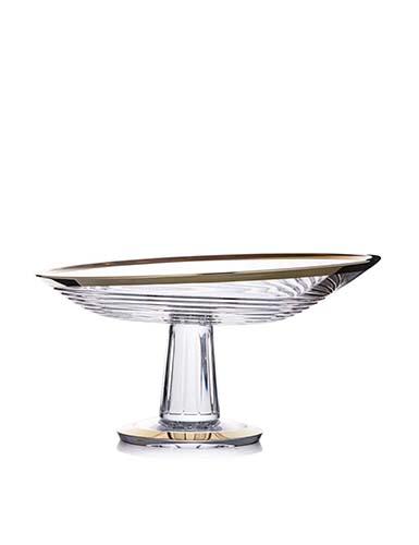 """Rogaska Crystal, Amphora Crystal Centerpiece, Platter 13"""" Gold"""