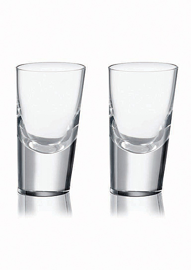 Rogaska Crystal, 90 Degrees Crystal Shot Glass, Pair