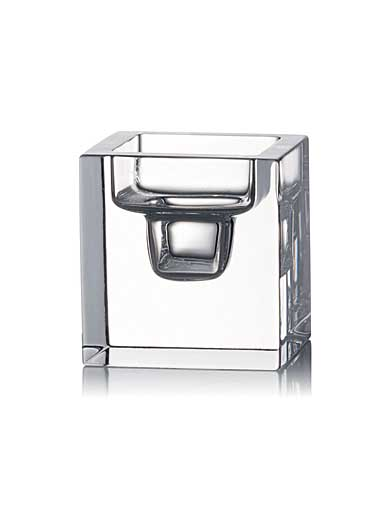 Rogaska Manhattan City Medium Square Candleholder, Clear