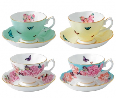 Miranda Kerr For Royal Albert Teacups and Saucers, Set of Four