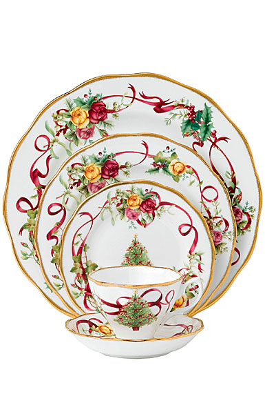 Royal Albert Old Country Roses China Christmas Tree Dinnerware, 5 Piece Place Setting